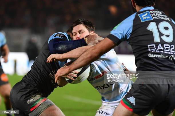 Henry Chavancy of Racing 92 takes on the Bayonne defence during the Top 14 match between Racing 92 and Aviron Bayonnais Bayonne on February 11 2017...