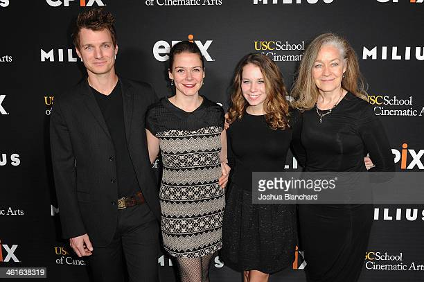 Henry Clark Alison Friedman Hannah Ryan and Nora Ryan arrive at EPIX USC Host An Evening With John Milius at USC Norris Theatre on January 9 2014 in...
