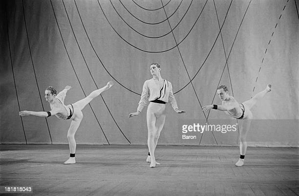 L R Henry Danton English ballet dancer Michael Somes and Brian Shaw during a scene from the Frederick Ashton produced ballet 'Symphonic Variations'...