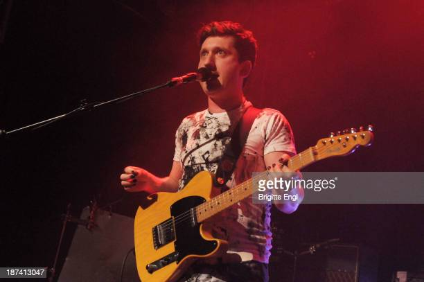 Henry Dartnall of Young Knives performs on stage at O2 Islington Academy on November 8 2013 in London United Kingdom