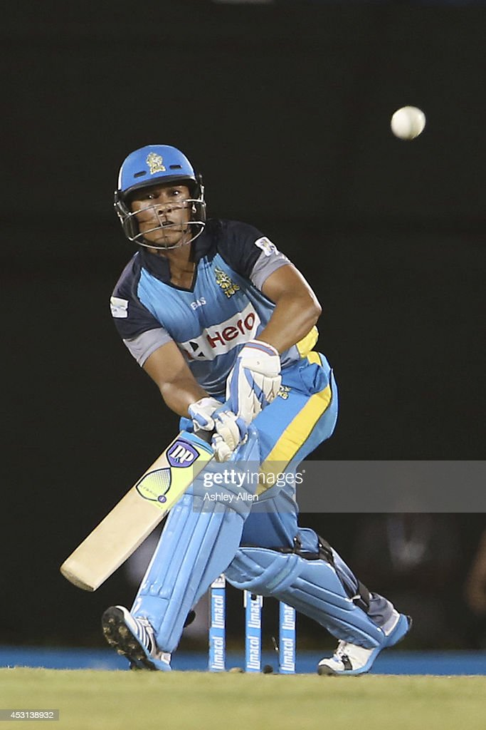 Henry Davids bats during his innings of 43 during a match between St. Lucia Zouks and Antigua Hawksbills as part of week 4 of the Limacol Caribbean Premier League 2014 at Beausejour Stadium on August 03, 2014 in Castries, St. Lucia.