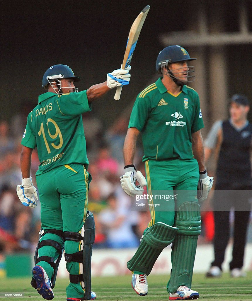 Henry Davids of South Africa celebrates his 50during the 2nd T20 match between South Africa and New Zealand at Buffalo Park on December 23, 2012 in East London, South Africa.