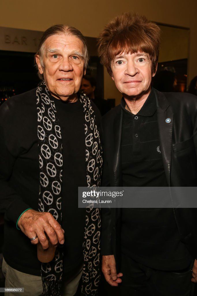 Henry Delt (L) and DJ Rodney Bingenheimer attend the 'Visual Harmony' exhibit of Graham Nash opening at Morrison Hotel Gallery on April 17, 2013 in West Hollywood, California.