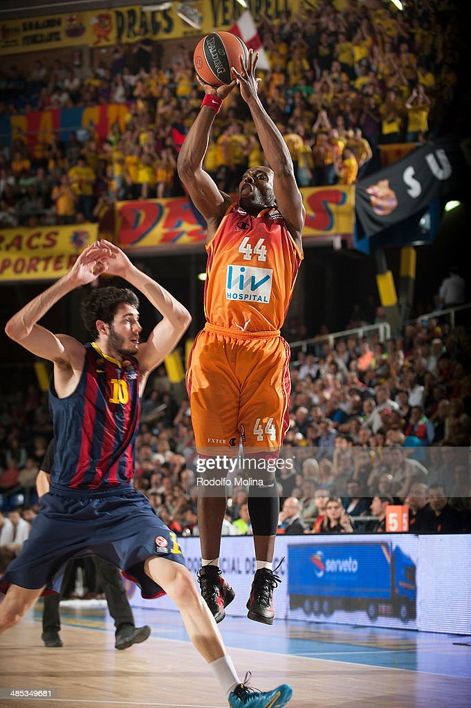 Henry Domercant, #44 of Galatasaray Liv Hospital Istanbul in action during the Turkish Airlines Euroleague Basketball Play Off Game 2 between FC Barcelona Regal v Galatasaray Liv Hospital Istanbul at Palau Blaugrana on April 17, 2014 in Barcelona, Spain.