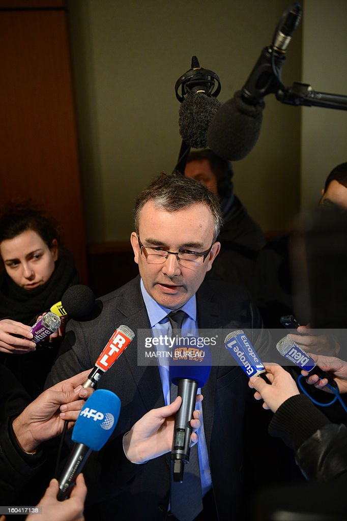 Henry Dumortier, general manager of the France's US tyre manufacturer Goodyear, speaks to journalists at the end of a press conference on January 31, 2013 in Rueil-Malmaison, out of Paris. Executives at a Goodyear tyre plant in Amiens, northern France, presented today a plan to close the site, which employs 1,173 workers. 'Closing the factory is the only option after five years of unsuccessful negotiations,' said a statement, which added that the plan had been presented to a works committee and would serve as the basis for further consultations with workers' representatives.