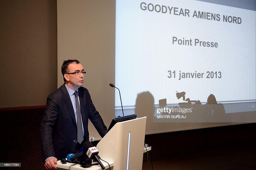 Henry Dumortier, general manager of the France's US tyre manufacturer Goodyear, speaks during a press conference on January 31, 2013 in Rueil-Malmaison, out of Paris. Executives at a Goodyear tyre plant in Amiens, northern France, presented today a plan to close the site, which employs 1,173 workers. 'Closing the factory is the only option after five years of unsuccessful negotiations,' said a statement, which added that the plan had been presented to a works committee and would serve as the basis for further consultations with workers' representatives. AFP PHOTO / MARTIN BUREAU
