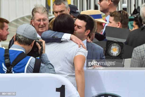 Henry Dwyer celebrates after Snitty Kitty ridden by Beau Mertens won the Harrolds Caulfield Sprint at Caulfield Racecourse on October 21 2017 in...