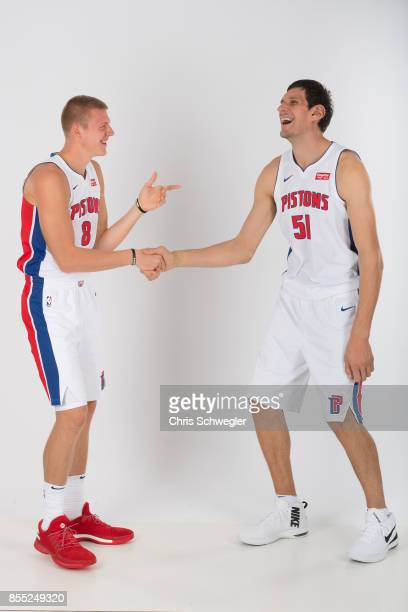 Henry Ellenson and Boban Marjanovic of the Detroit Pistons pose for a portrait during Media Day on September 25 2017 at the Little Caesars Arena...
