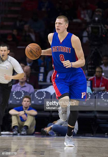 Henry Ellenson of the Detroit Pistons dribbles the ball against the Philadelphia 76ers at Wells Fargo Center on October 15 2016 in Philadelphia...