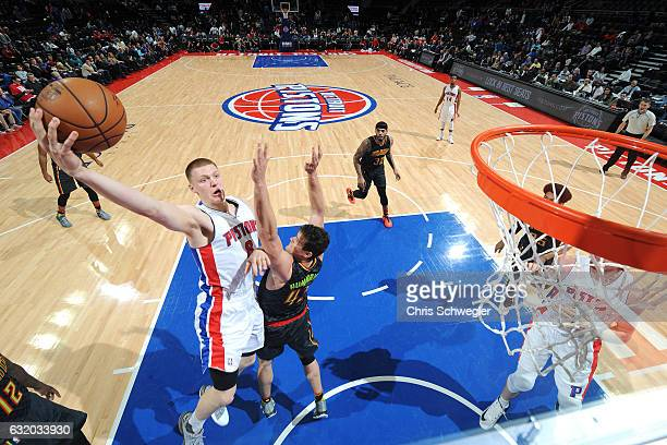 Henry Ellenson of the Detroit Pistons goes for the lay up during the game against the Atlanta Hawks on January 18 2017 at The Palace of Auburn Hills...
