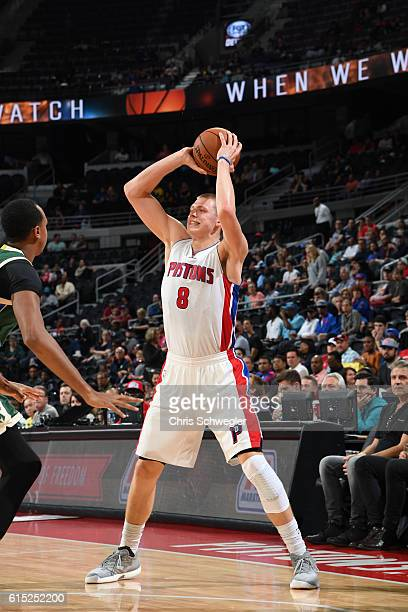 Henry Ellenson of the Detroit Pistons handles the ball against the Milwaukee Bucks on October 17 2016 at The Palace of Auburn Hills in Auburn Hills...