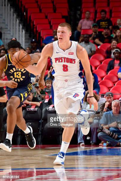 Henry Ellenson of the Detroit Pistons handles the ball against the Indiana Pacers on October 9 2017 at Little Caesars Arena in Detroit Michigan NOTE...