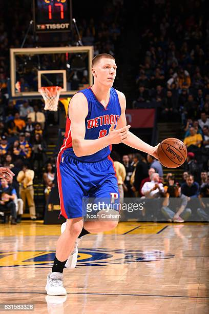 Henry Ellenson of the Detroit Pistons handles the ball during the game against the Golden State Warriors on January 12 2017 at ORACLE Arena in...