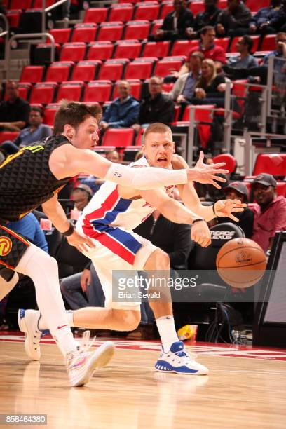 Henry Ellenson of the Detroit Pistons passes the ball against the Atlanta Hawks on October 6 2017 at Little Caesars Arena in Detroit Michigan NOTE TO...