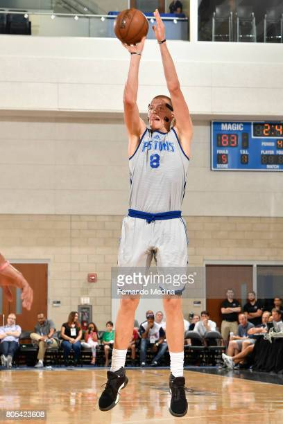 Henry Ellenson of the Detroit Pistons shoots the ball against the Oklahoma City Thunder during the 2017 Summer League on July 1 2017 at Amway Center...