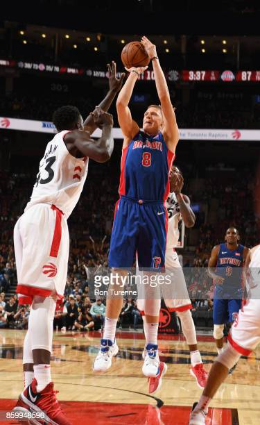 Henry Ellenson of the Detroit Pistons shoots the ball against the Toronto Raptors during the preseason game on October 10 2017 at the Air Canada...