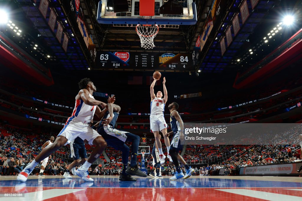 Henry Ellenson #8 of the Detroit Pistons shoots the ball against the Denver Nuggets on December 12, 2017 at Little Caesars Arena in Detroit, Michigan.