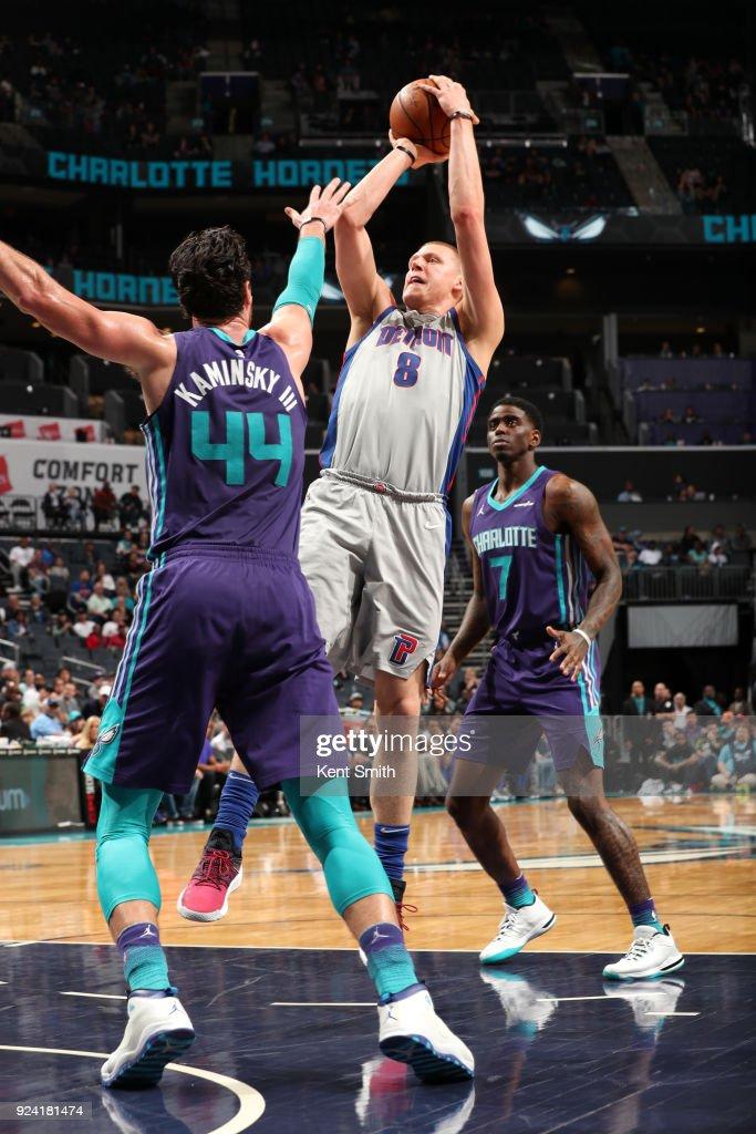 Henry Ellenson #8 of the Detroit Pistons shoots the ball against the Charlotte Hornets on February 25, 2017 at Spectrum Center in Charlotte, North Carolina.