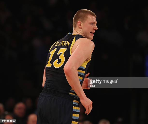 Henry Ellenson of the Marquette Golden Eagles celebrates his three point shot in the first half against the Xavier Musketeers during the...