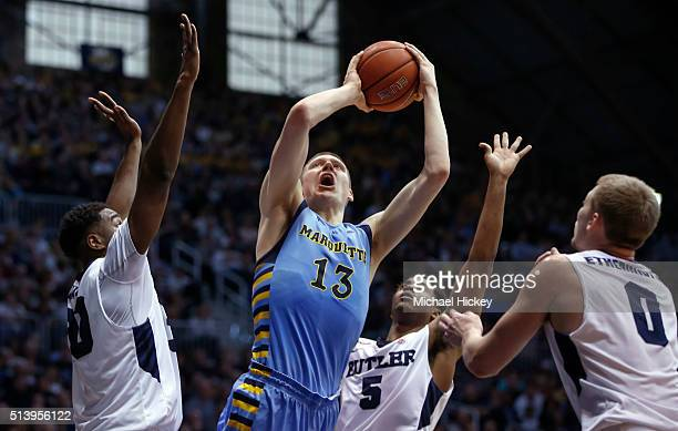 Henry Ellenson of the Marquette Golden Eagles shoots the ball against the Butler Bulldogs at Hinkle Fieldhouse on March 5 2016 in Indianapolis Indiana