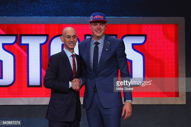 Henry Ellenson poses with Commissioner Adam Silver after being drafted 18th overall by the Detroit Pistons in the first round of the 2016 NBA Draft...