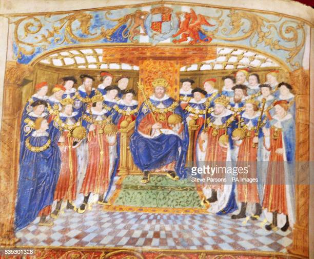 Henry enthroned with the Garter Knights from the Black book of the Garter c1534 pictured as the final preparations are put in place for the Henry...
