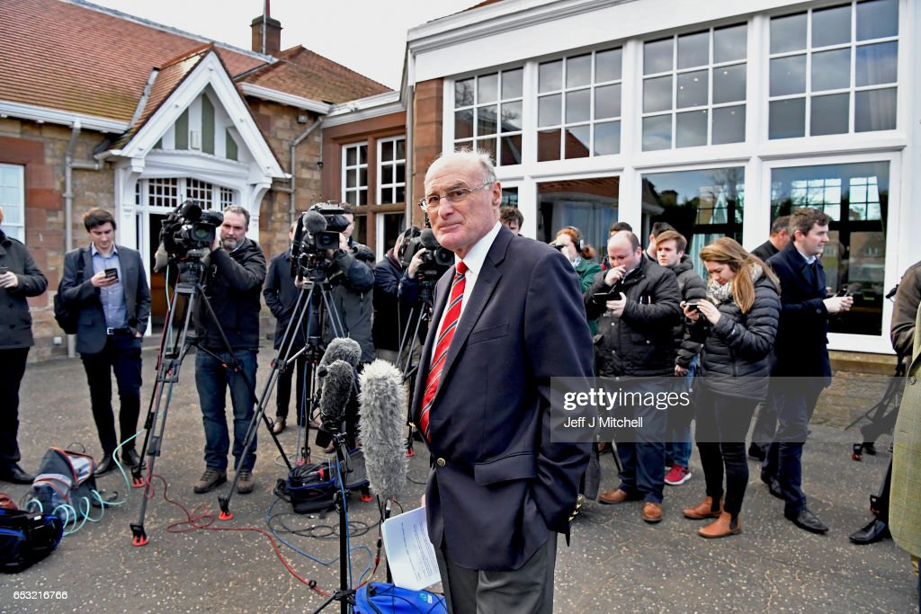 Henry Fairweather holds a media conference outside Muirfield Golf Club on March 14, 2017 in Gullane, Scotland. Muirfield golf club members have voted to admit female members, voting eighty percent in favour of updating the membership policy at the privately owned club .