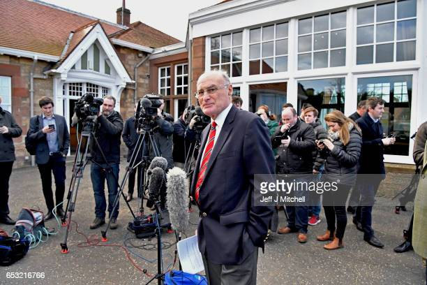 Henry Fairweather holds a media conference outside Muirfield Golf Club on March 14 2017 in Gullane Scotland Muirfield golf club members have voted to...