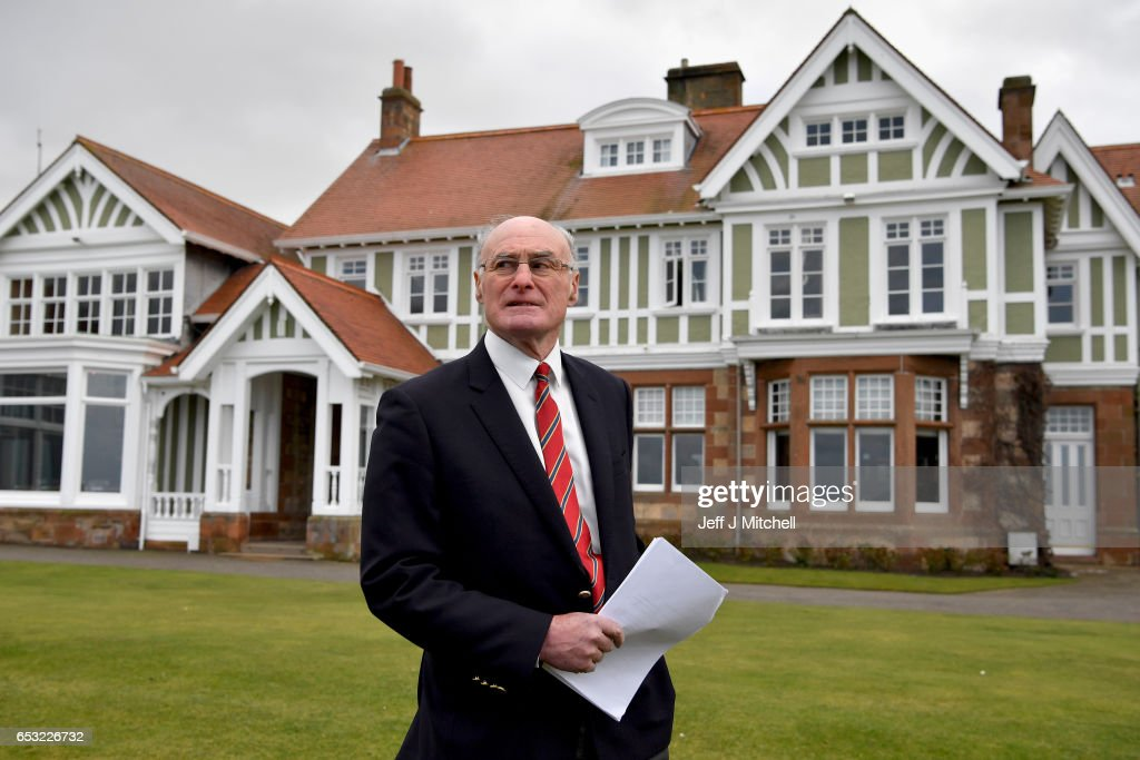 Henry Fairweather holds a media conference outside Muirfield Golf Club on March 14, 2017 in Gullane, Scotland. Muirfield golf club members have voted to admit women members after the privately owned club voted eighty percent in favour in updating the membership policy.