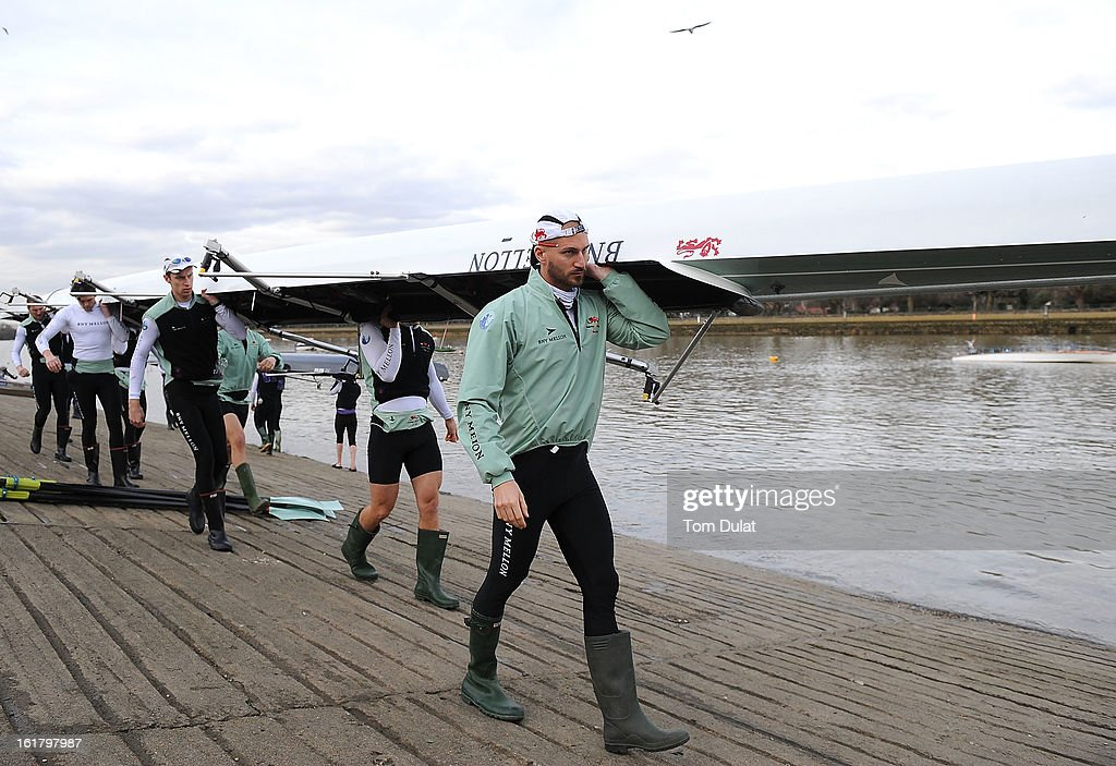 Henry Fieldman (Cox), Alexander Fleming (Stroke), George Nash, Niles Garratt, Alexander Scharp, Steve Dudek, Ty Otto, Grant Wilson and Milan Bruncvik (Bow) of The Cambridge team prior to the training race against University of Washington on the River Thames on February 16, 2013 in London, England.