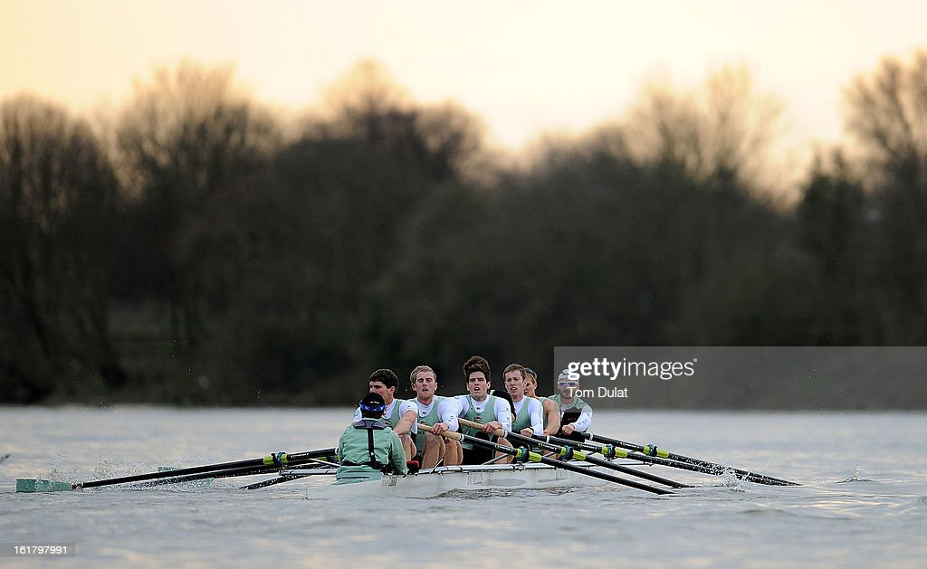 Henry Fieldman (Cox), Alexander Fleming (Stroke), George Nash, Niles Garratt, Alexander Scharp, Steve Dudek, Ty Otto, Grant Wilson and Milan Bruncvik (Bow) of The Cambridge team in action during the training race against University of Washington on the River Thames on February 16, 2013 in London, England.