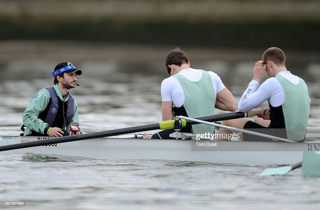 Henry Fieldman (Cox) of The Cambridge team during the training race against University of Washington on the River Thames on February 16, 2013 in London, England.