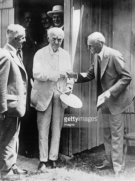 Henry Ford and Thomas Edison In the background the wooden shed where Thomas Edison created the first light bulb The shed will be part of the Henry...