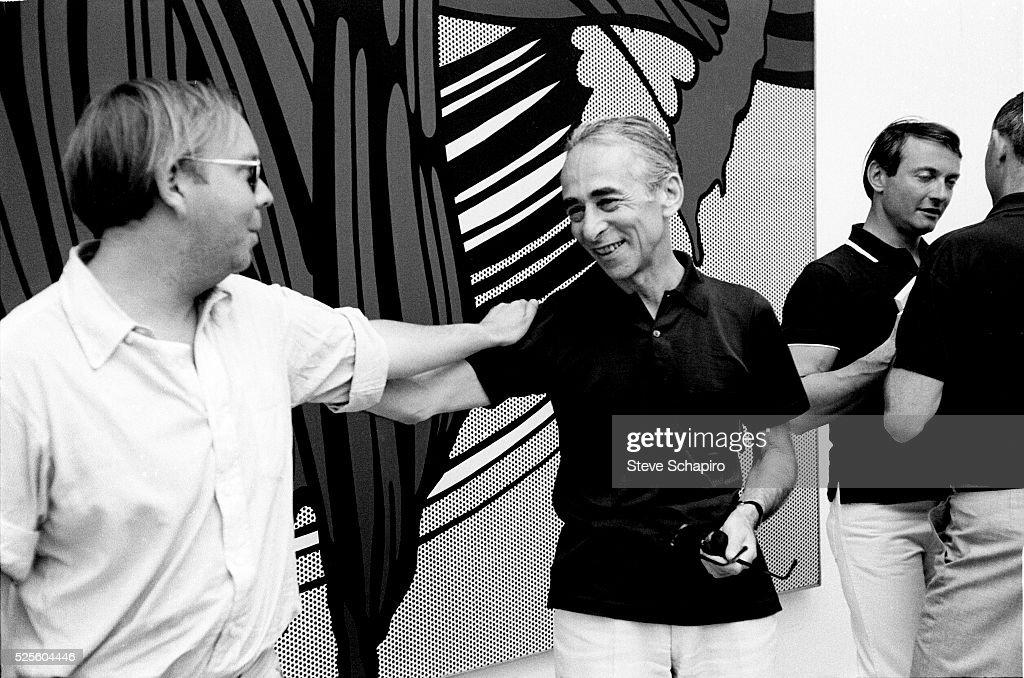 Henry Geldzahler, Leo Castelli and Roy Lichtenstein in front of a painting by Lichtenstein at the 1966 Venice Biennale