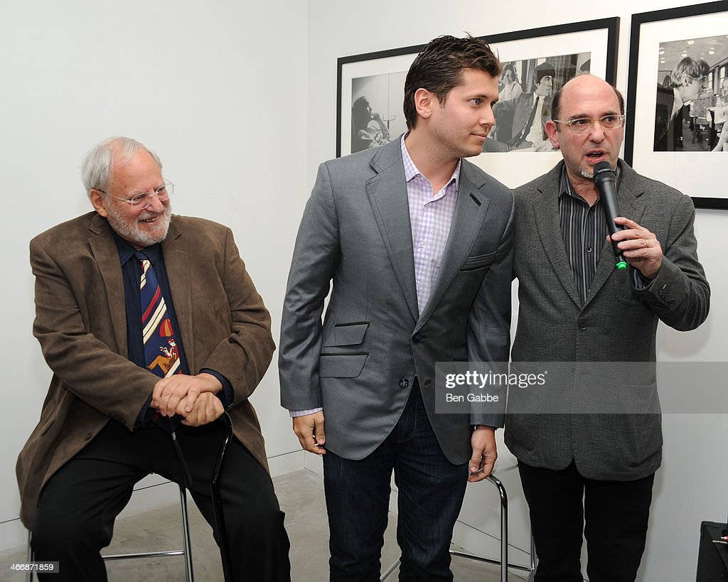 Henry Grossman, Vlad Ginsberg and Ed Baum attend The Beatles 50 Year Commemorative Anniversary photo exhibit at Rock Paper Photo NYC Pop Up Gallery on February 4, 2014 in New York City.