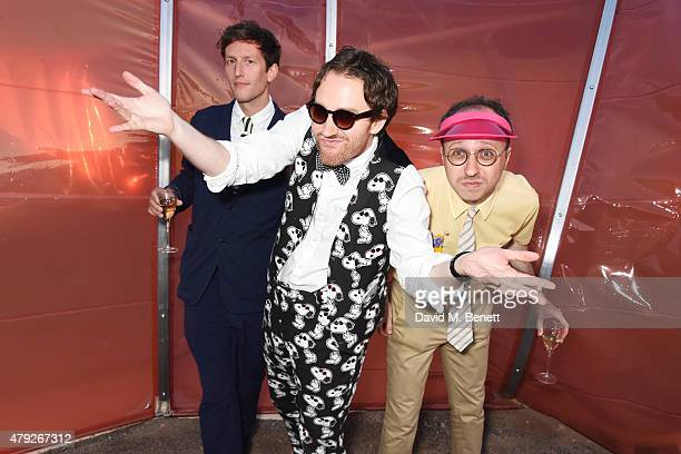 Henry Hudson Philip Colbert and Nimrod Kamer attend The Serpentine Gallery summer party at The Serpentine Gallery on July 2 2015 in London England