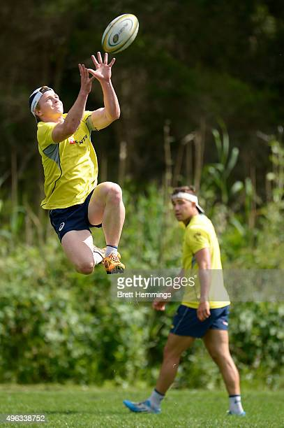 Henry Hutchison jumps for a high ball during an Australian men's rugby sevens training session at Sydney Academy of Sport on November 9 2015 in...