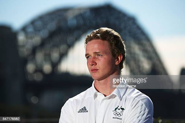 Henry Hutchison of the Australian Men's Sevens Rugby Team poses during the Australian Olympic Games rugby sevens team announcement at Museum of...