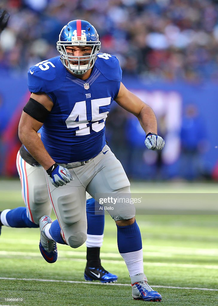 Henry Hynoski #45 of the New York Giants in action during their game against the Philadelphia Eagles at MetLife Stadium on December 30, 2012 in East Rutherford, New Jersey.