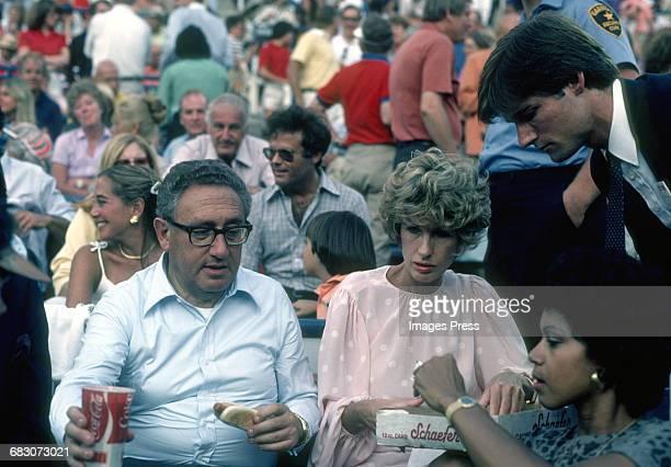 Henry Kissinger and Nancy Kissinger at the ballpark circa 1981 in New York City