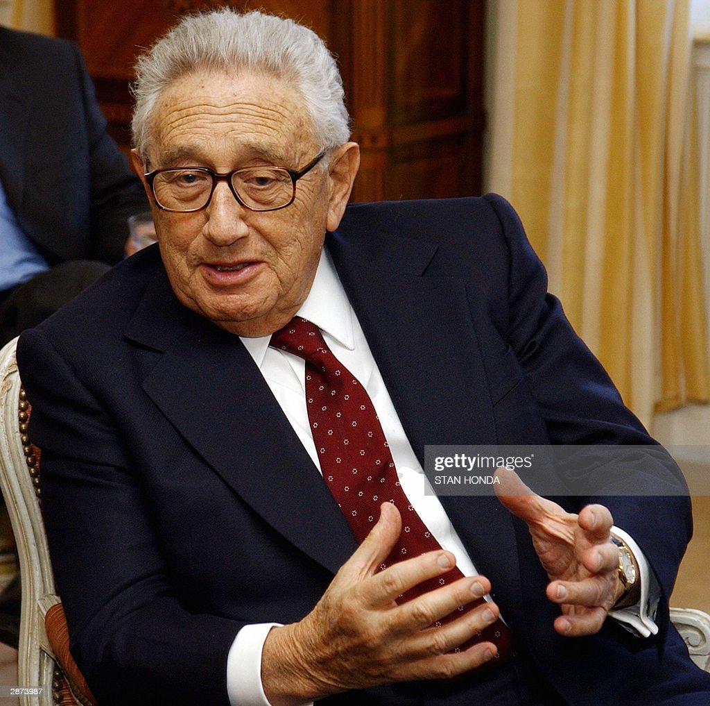 <a gi-track='captionPersonalityLinkClicked' href=/galleries/search?phrase=Henry+Kissinger&family=editorial&specificpeople=154883 ng-click='$event.stopPropagation()'>Henry Kissinger</a>, former US Secretary of State, during meeting, 16 January, 2004, with <a gi-track='captionPersonalityLinkClicked' href=/galleries/search?phrase=Michele+Alliot-Marie&family=editorial&specificpeople=536962 ng-click='$event.stopPropagation()'>Michele Alliot-Marie</a>, Defense Minister of France, at the French Consulate in New York. AFP PHOTO/Stan HONDA