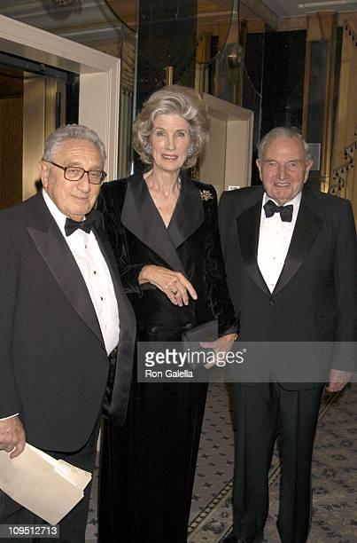 Henry Kissinger Nancy Kissinger and David Rockefeller