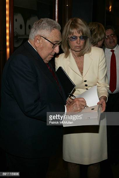 Henry Kissinger signing his book attends The Week at Grand Central Presents'Mideast Peace What Will It Take' at Michael Jordan's Steakhouse on April...