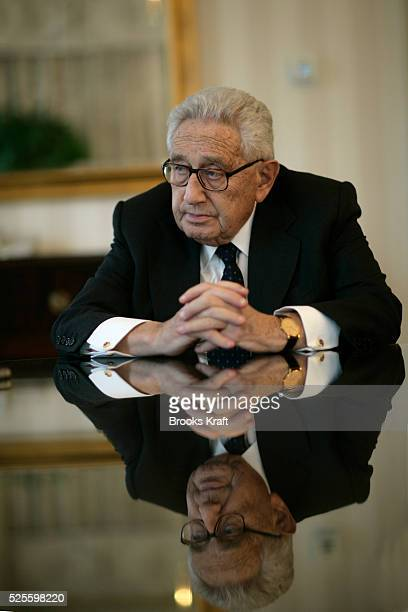 Henry Kissinger speaks suring an interview in Washington DC Kissinger is a 1973 Nobel Peace Prize laureate He served as National Security Advisor and...