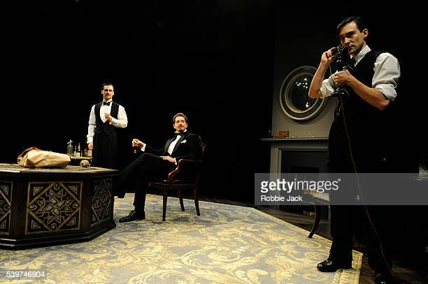 Henry LloydHughes as Kenneth RaglanBertie Carvel as Rupert Cadell and Blake Ritson as Wyndham Brandon in the production of Patrick Hamilton's 'Rope'...