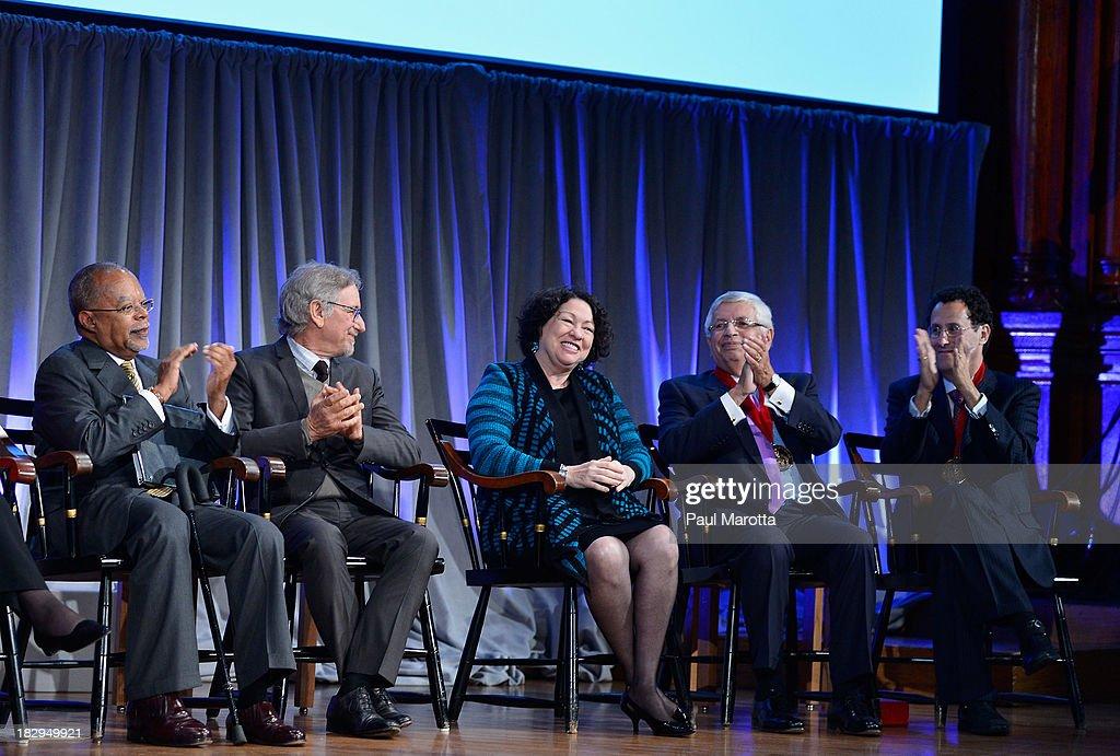 Henry Louis Gates, Jr., Steven Spielberg, Sonia Sotomayor, David Stern and Tony Kushner attend the 2013 W.E.B. Du Bois Medal at a ceremony at Harvard University's Sanders Theatre on October 2, 2013 in Cambridge, Massachusetts.