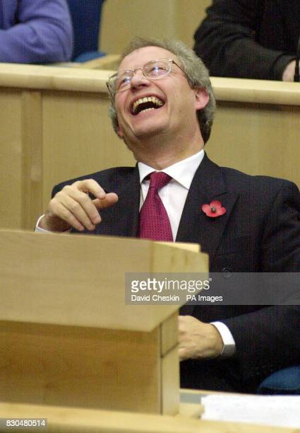 Henry McLeish in the Scottish Parliament debating chamber in Edinburgh after being elected at Scotland's First Minister following the death of Donald...