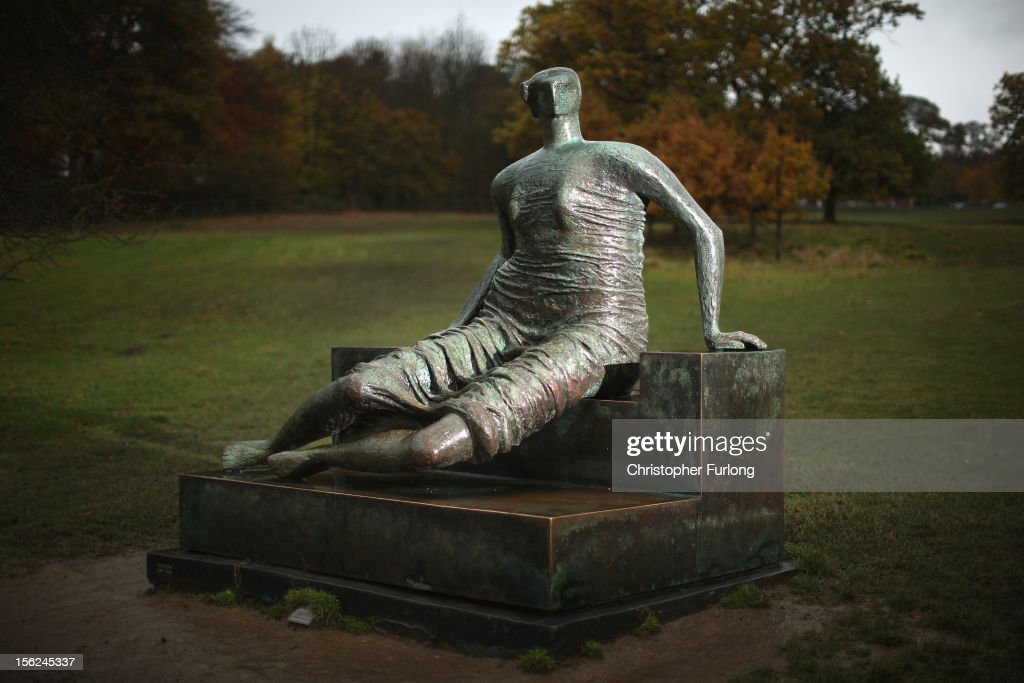 Henry Moore's sculpture, Draped Seated Woman, sits in it's present location at Yorkshire Scultpure Park on November 12, 2012 in Wakefield, England. The artwork fondly known as Old Flo has been put up for sale by cash-strapped Tower Hamlets Council in London. The sculpture was sold to the council by Henry Moore for less than it's market value in the 1960's and is now estimated to be worth millions of pounds.
