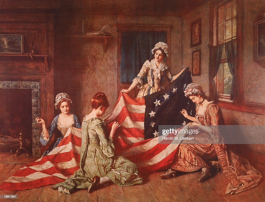 A Henry Mosler painting 'The Birth of the Flag' depicts Betsy Ross and her assistants sewing the first American flag, Philadelphia, Pennsylvania, 1777.