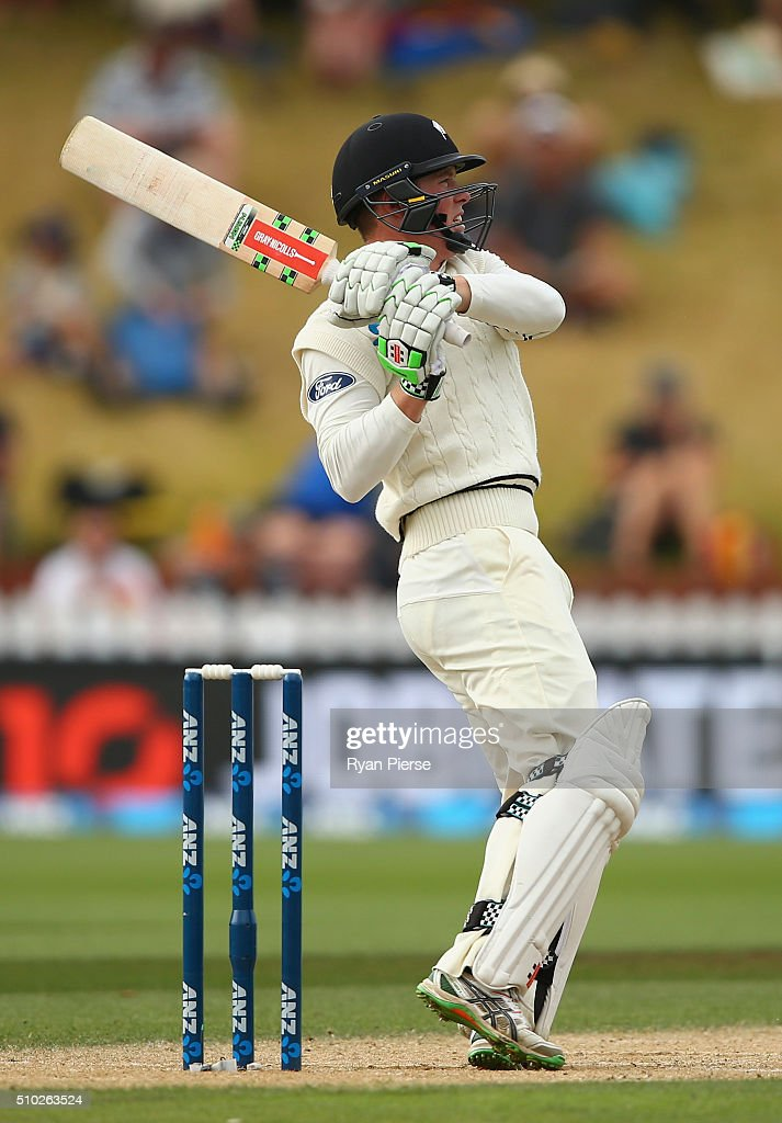 Henry Nicholls of New Zealand bats during day four of the Test match between New Zealand and Australia at Basin Reserve on February 15, 2016 in Wellington, New Zealand.